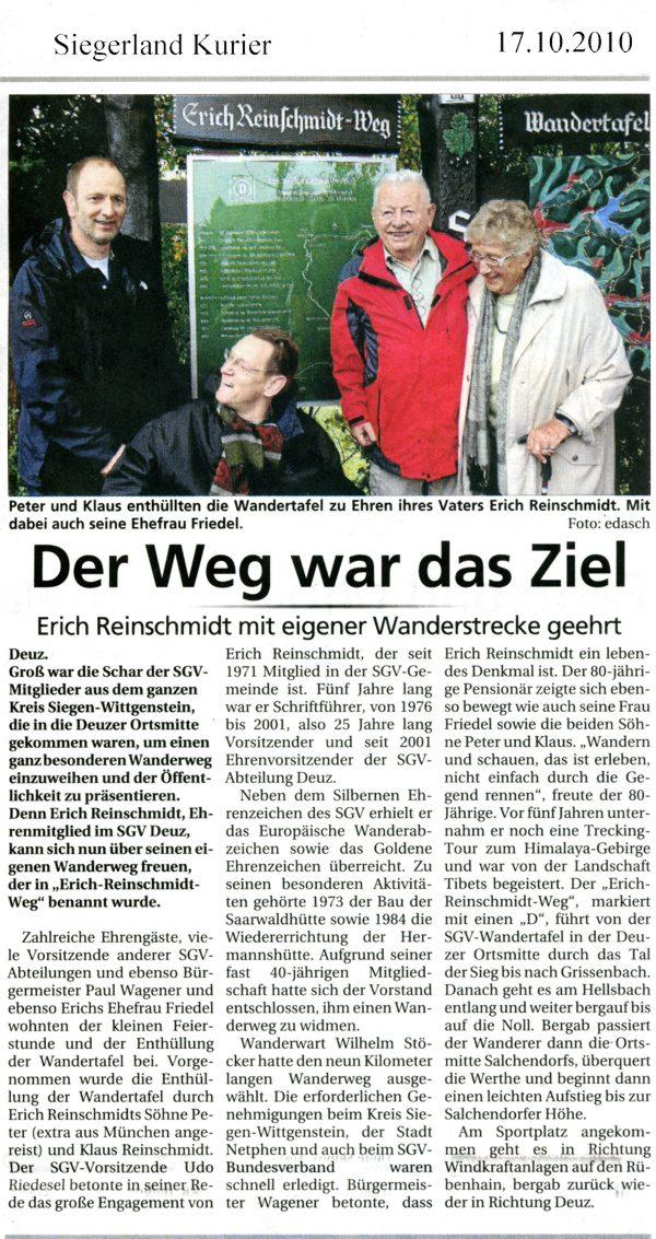 Erich Reinschmidt Weg (Zeitungsmitteilung)